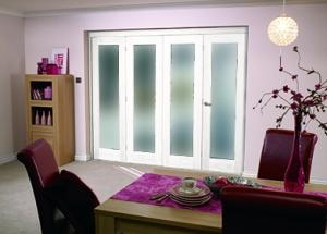 "White Bifold 4 door system ( 4 x 27"" doors ) Frosted.:  Image"