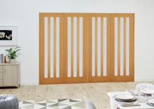 Aston Oak Frosted Folding Room Divider ( 4 x 686mm doors):  Image
