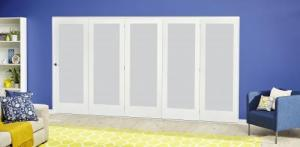 White P10 Frosted Roomfold Deluxe ( 5 x 686mm doors ):  Image