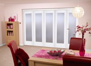 "White Bifold 5 door system ( 5 x 24"" doors ) Frosted.:  Image"