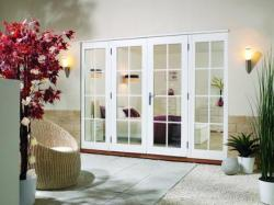 2100mm (7ft) Prefinished WHITE French Doors - 8 Lite - 1500 Pair + 2 x 300mm Sidelights:  Image