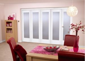 "White Bifold 5 door system ( 5 x 27"" doors ) Frosted.:  Image"