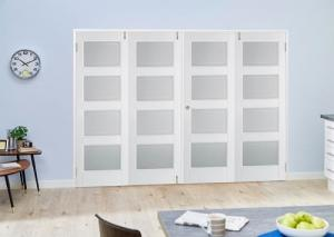 Contemporary White 4L Folding Room Divider ( 4 x 686mm Doors):  Image