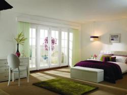 2400mm (8ft) Prefinished WHITE French Doors - 8 Lite - 1500 Pair + 2 x 450mm Sidelights:  Image