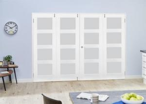 White 4L Frosted Folding Room Divider ( 4 x 533mm doors):  Image