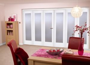 "White Bifold 6 door system ( 3 + 3 x 24"" doors ) Frosted.:  Image"