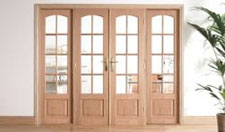 W8 OAK Interior French Door set with sidelights:  Image