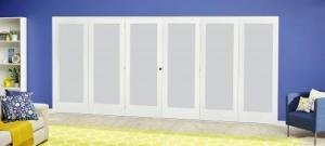 White P10 Frosted Roomfold Deluxe ( 3 + 3 x 610mm doors ):  Image