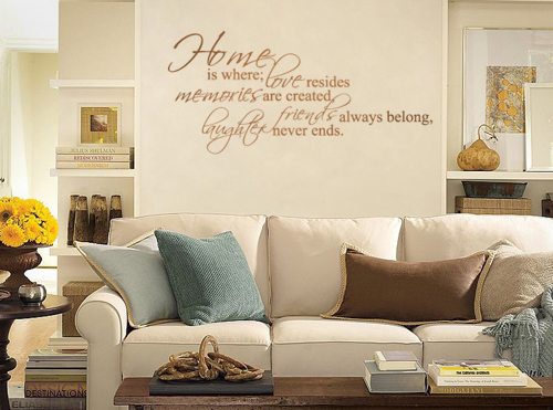 An image of a positive quote applied to a wall with a wall sticker