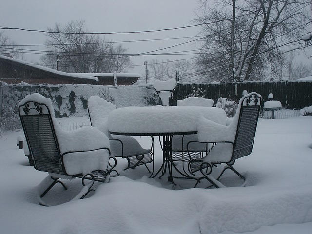 Patio in snow