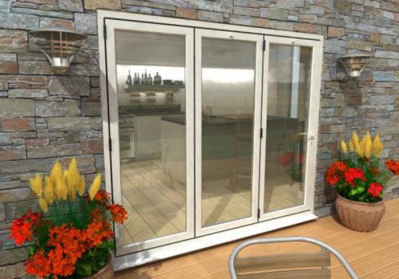 white bifold patio doors