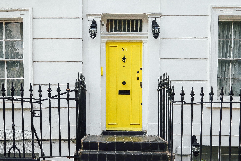 yellow painted front door
