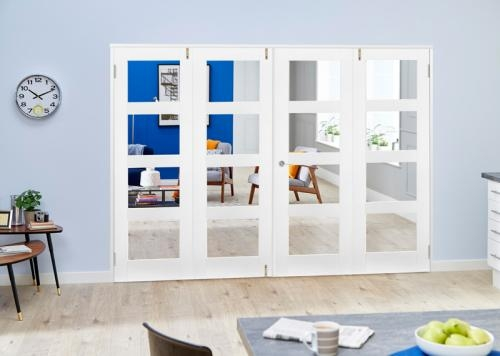 White 4L French Folding Room Divider - Clear: French Doors with folding sidelights Image