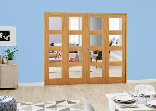 Oak 4L French Folding Room Divider - Clear: French Doors with folding sidelights Image