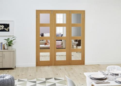 PREFINISHED Oak 4L French Folding Room Divider - Clear: French Doors with folding sidelights Image