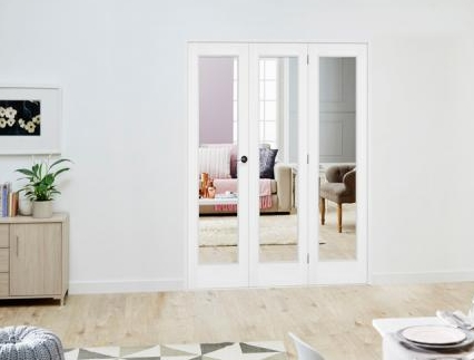 White P10 Roomfold Deluxe - Clear Glass: Interior Folding Door with Low Level Guide Rail Image