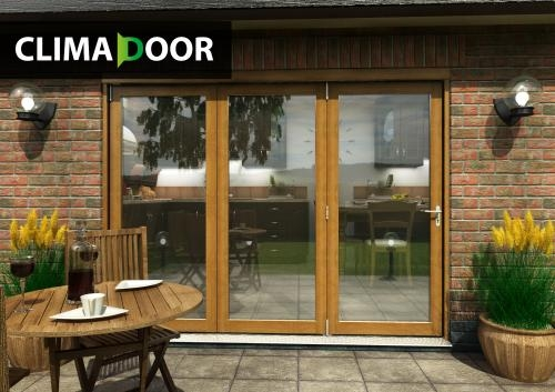CLIMADOOR Supreme Solid OAK Folding Doors: 54mm Fully Finished Doorset Image