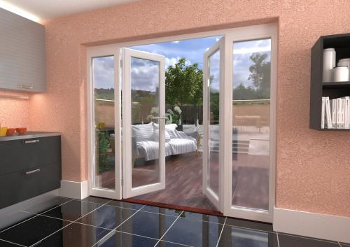 2400mm 8ft white french patio doors with sidelights for 1500mm french doors