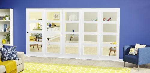 White 4L Roomfold Deluxe - Clear Glass: Interior Folding Door with Low Level Guide Rail Image