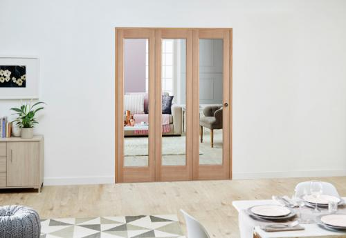 Delivery in 5 working days & Slimline Oak P10 Roomfold Deluxe ( 3 X 457mm Doors ) | Express ...