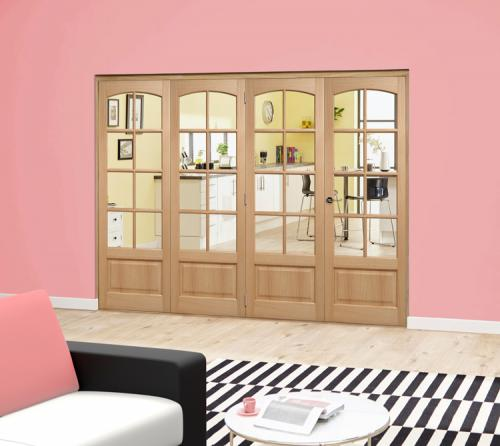 Worthing Oak 8L Roomfold Deluxe - Clear glass: Interior Folding Door with Low Level Guide Rail Image