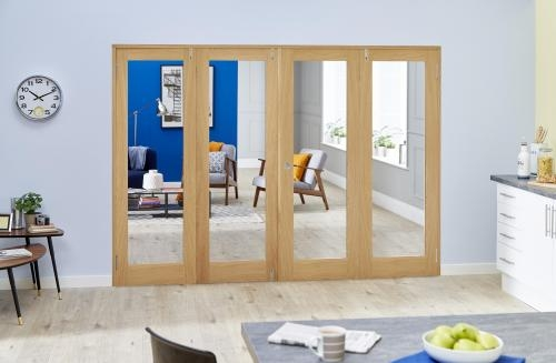 PREFINISHED Oak French Folding Room Divider - Clear: French Doors with folding sidelights Image
