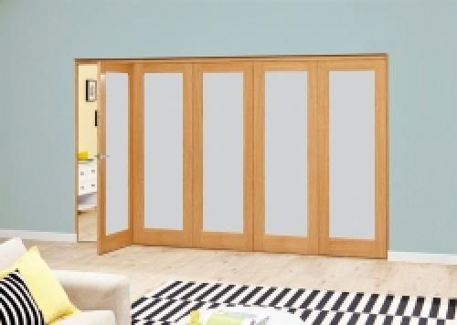 PREFINISHED Oak Roomfold Deluxe - Frosted Glass: Interior Folding Door with Low Level Guide Rail Image