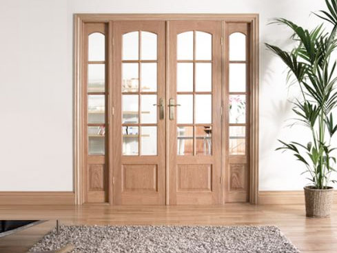 Traditional OAK Interior French Doors: Internal Room Divider with sidelight options Image