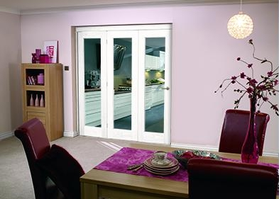 White Pattern 10 Roomfold - Clear glass: Interior Folding Door Image