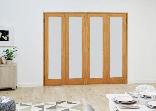 PREFINISHED Oak French Folding Room Divider - Frosted: French Doors with folding sidelights Image