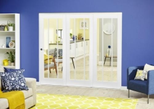 Lincoln White Roomfold Deluxe - Clear Glass: Interior Folding Door with Low Level Guide Rail Image