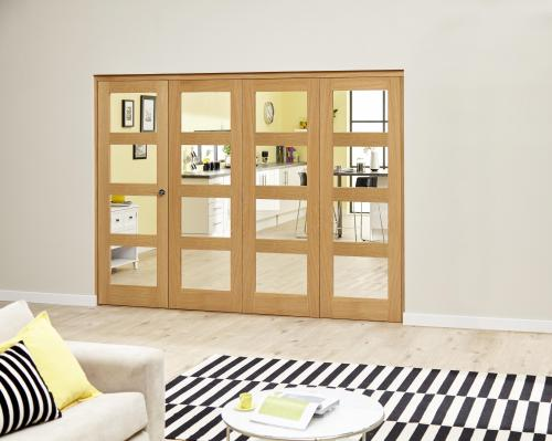 PREFINISHED Oak 4L Roomfold Deluxe - Clear Glass: Interior Folding Door with Low Level Guide Rail Image