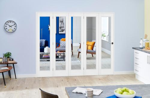 Slimline white bifold 5 door system 5 x 381mm doors for Internal folding doors systems