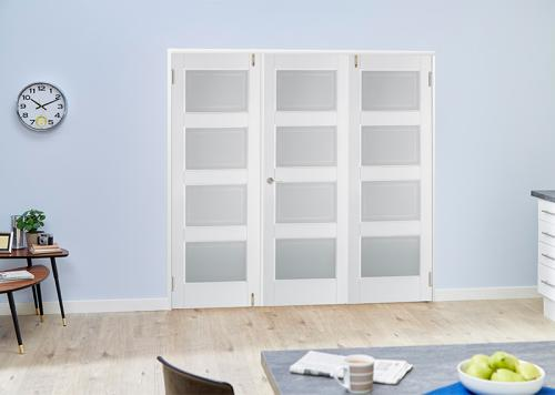 Contemporary White 4L French Folding Room Divider: French Doors with folding sidelights Image