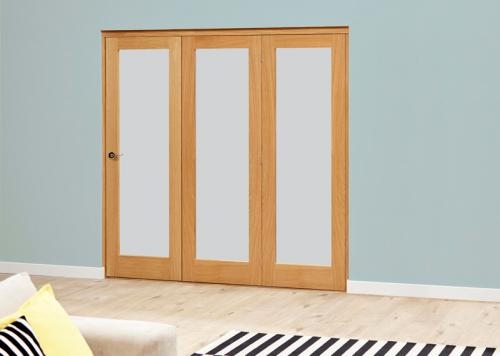 Oak Roomfold Deluxe - Frosted Glass: Interior Folding Door with Low Level Guide Rail Image