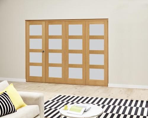 Oak 4L Roomfold Deluxe - Frosted Glass: Interior Folding Door with Low Level Guide Rail Image