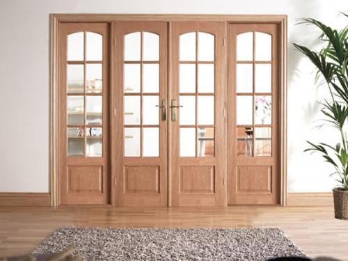 W6 oak interior french door set with sidelights at express for French doors with sidelights