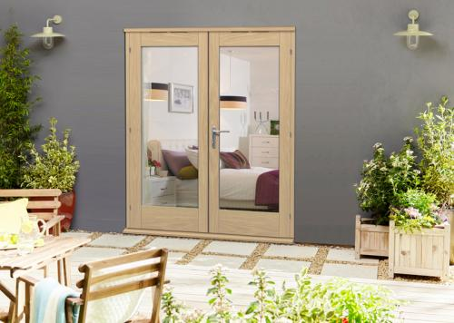 Elite Oak Un-finished French Doors - CLIMADOOR: 54mm un-finished oak external french patio doors Image