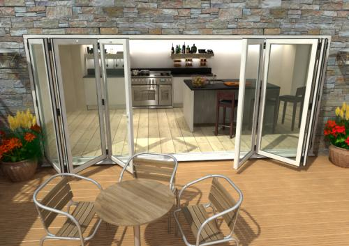 CLIMADOOR White Aluminium Bifolding Patio Doors: 70mm Thermally Broken, Double Glazed Door Set Image