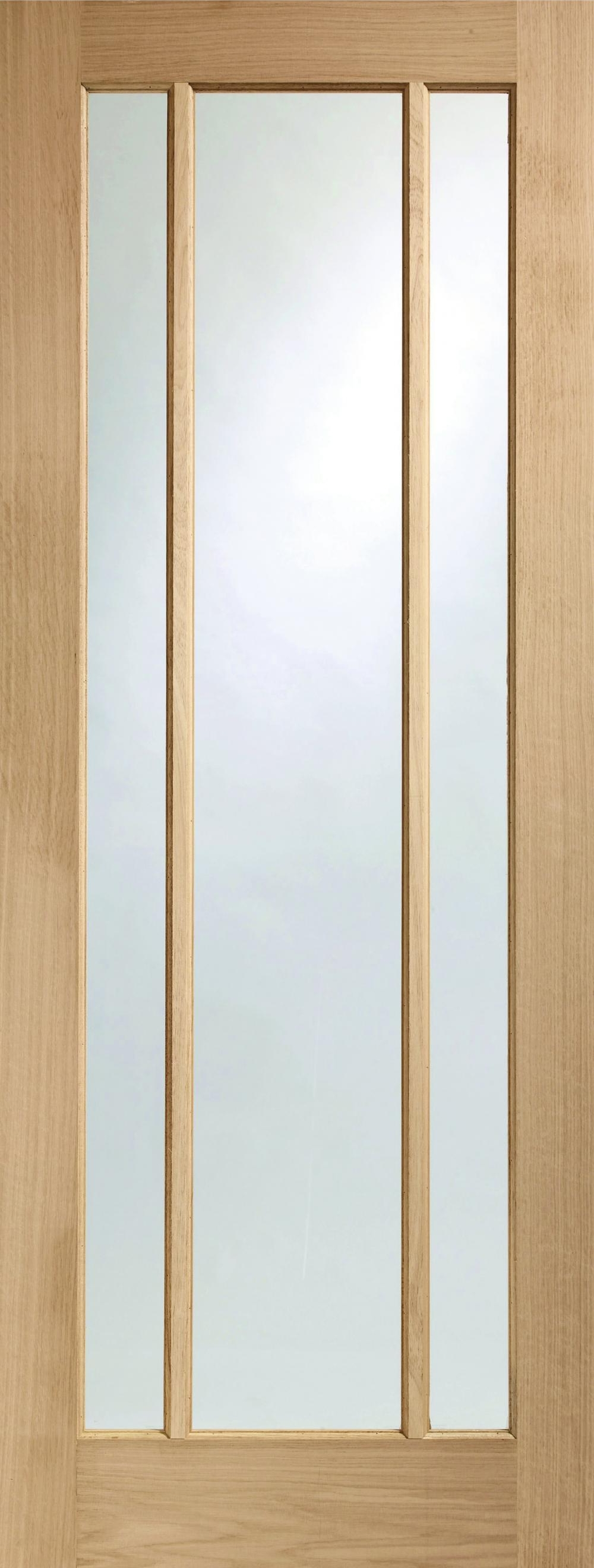 Worcester Oak 3 Light Clear Glass Interior Door