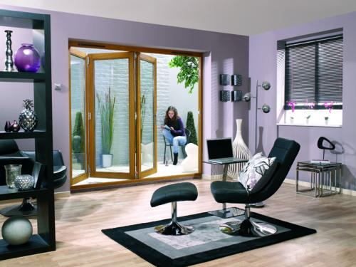 NUVU OAK Bifold Patio Doors Prefinished: 44mm Pre Finished Doorset Image