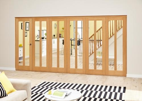 Aston Oak Roomfold Deluxe - Clear Glass: Interior Folding Door with Low Level Guide Rail Image