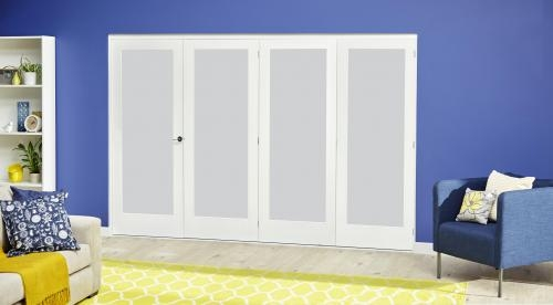 White P10 Roomfold Deluxe - Frosted Glass: Interior Folding Door with Low Level Guide Rail Image