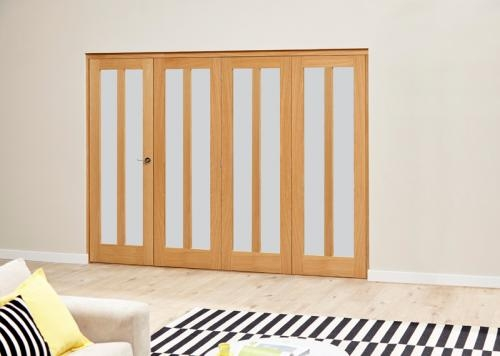 Aston Oak Roomfold Deluxe - Frosted Glass: Interior Folding Door with Low Level Guide Rail Image