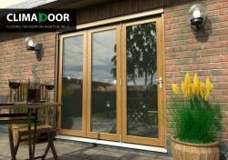 CLIMADOOR Supreme Solid OAK Folding Doors, Exterior Bifold Patio Doors Image