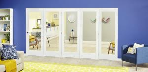 White P10 Roomfold Deluxe - Clear Glass, Interior Bifold Doors Image