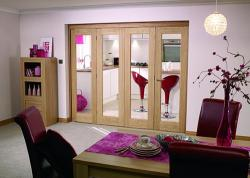 "Glazed OAK - 4 door roomfold (4 x 24"" doors): Internal Roomfold System Image"