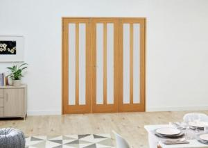 Aston Oak Frosted Folding Room Divider ( 3 x 610mm doors): French Doors with folding sidelights Image