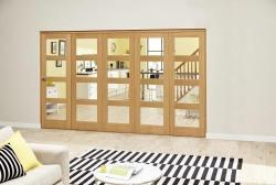 Oak 4L Clear Roomfold Deluxe (5 x 610mm doors): Interior Folding Door with Low Level Guide Rail Image