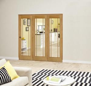 Worcester Oak Prefinished Roomfold Deluxe (3 x 610mm doors): Interior Folding Door with Low Level Guide Rail Image